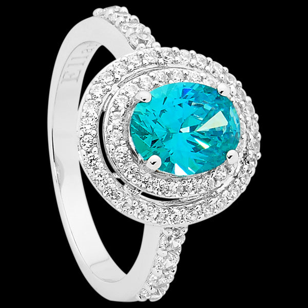 ELLANI STERLING SILVER AQUAMARINE CZ OVAL DOUBLE HALO RING