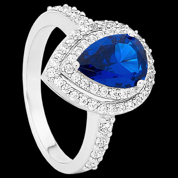 ELLANI STERLING SILVER PEAR SAPPHIRE CZ DOUBLE PAVE RING