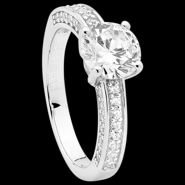 ELLANI STERLING SILVER SOLITAIRE CZ SIDE PAVE BAND RING