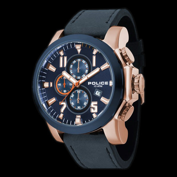 Police Thrust Blue Rose Gold Leather Watch Silver Steel