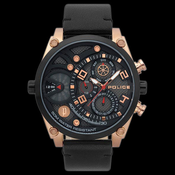 POLICE VIGOR BLACK DIAL ROSE GOLD BLACK LEATHER WATCH