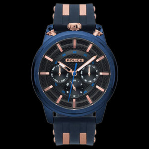 POLICE UPSIDE BLACK IP ROSE GOLD SILICONE WATCH