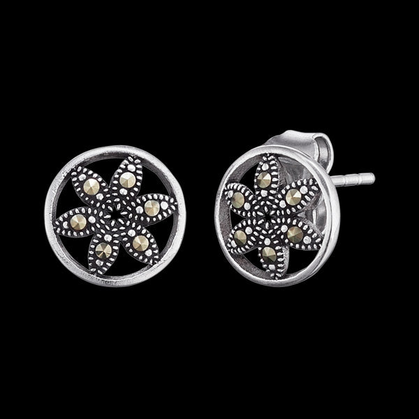 ENGELSRUFER SILVER MARCASITE FLOWER OF LIFE STUD EARRINGS