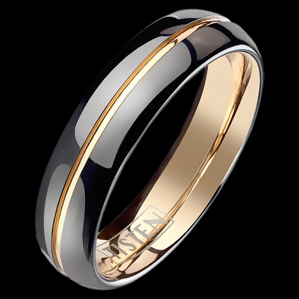 TISTEN MEN'S BLACK ROSE GOLD CONVEX GROOVE 6MM BAND RING
