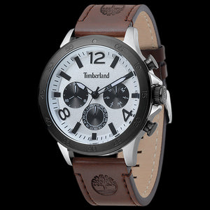 TIMBERLAND BRANFORD SILVER BLACK & WHITE DIAL BROWN LEATHER WATCH