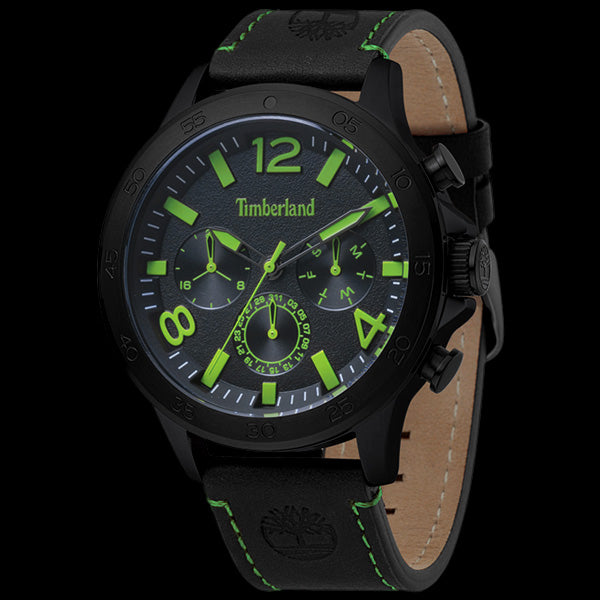 TIMBERLAND BRANFORD BLACK GREEN & BLACK DIAL LEATHER WATCH