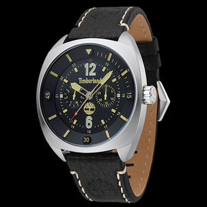TIMBERLAND BRIDGTON SILVER BLACK & YELLOW DIAL BLACK LEATHER WATCH
