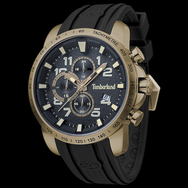 TIMBERLAND HOLBROOK GOLD BLACK & GOLD DIAL BLACK SILICON WATCH