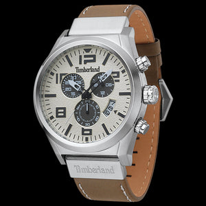 TIMBERLAND HOPKINTON SILVER CREAM DIAL BEIGE LEATHER WATCH