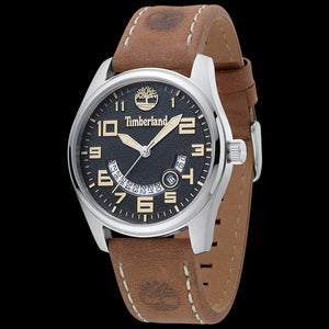 TIMBERLAND LEMINGTON SILVER BLACK & MUSTARD DIAL TAN LEATHER WATCH