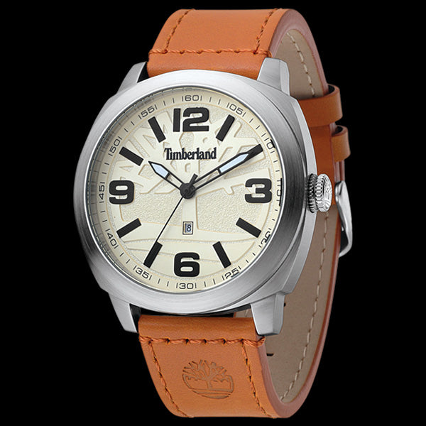 TIMBERLAND RICHMONT SILVER CREAM DIAL TAN LEATHER WATCH