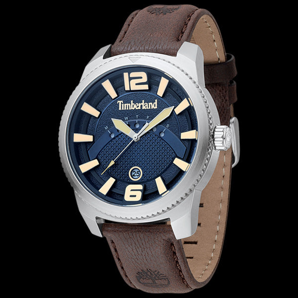 TIMBERLAND ROWLEY SILVER BLUE DIAL BROWN LEATHER WATCH