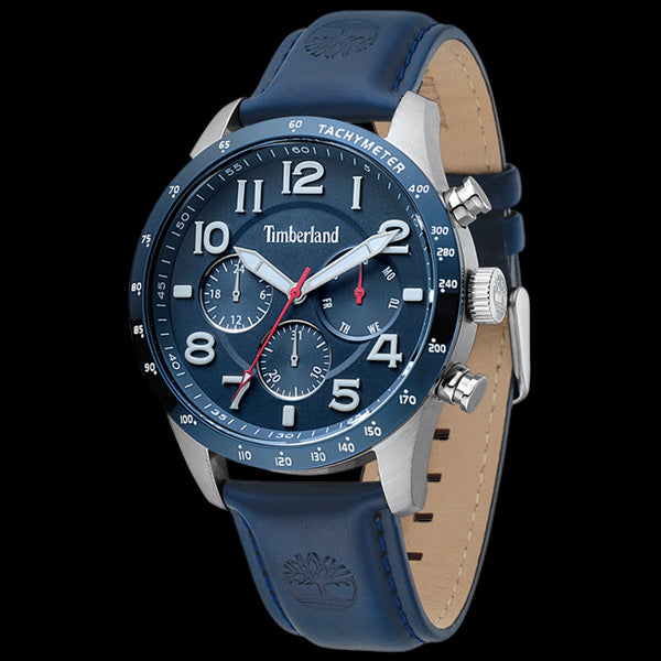 TIMBERLAND STONEHAM SILVER BLUE DIAL DARK BLUE LEATHER WATCH