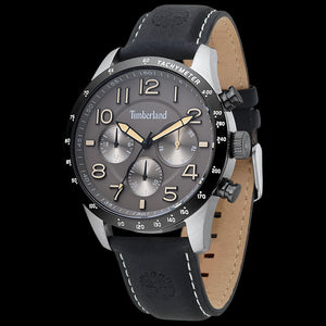 TIMBERLAND STONEHAM SILVER GREY & YELLOW DIAL BLACK LEATHER WATCH