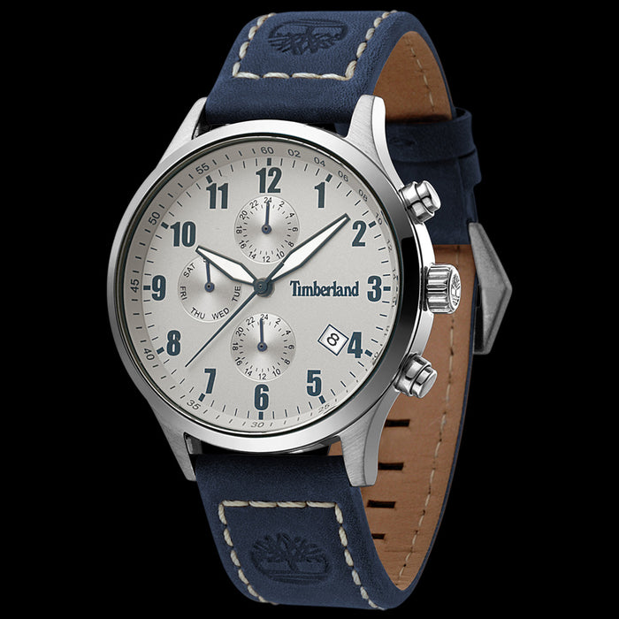 TIMBERLAND STOUGHTON SILVER & BLUE DIAL BLUE LEATHER WATCH