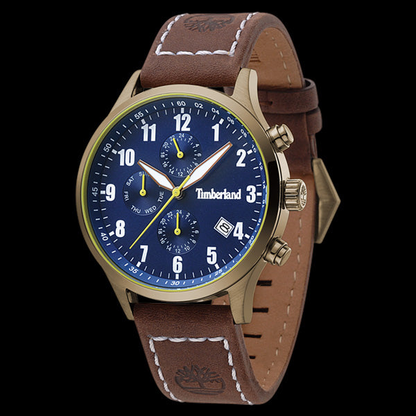 TIMBERLAND STOUGHTON GOLD & BLUE DIAL BROWN LEATHER WATCH
