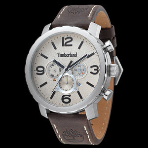 TIMBERLAND YARMOUTH SILVER CREAM DIAL BROWN LEATHER WATCH