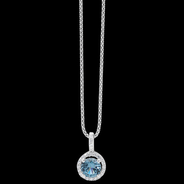 ELLANI STERLING SILVER CIRCLE SKY BLUE CZ SOLITAIRE SURROUND NECKLACE