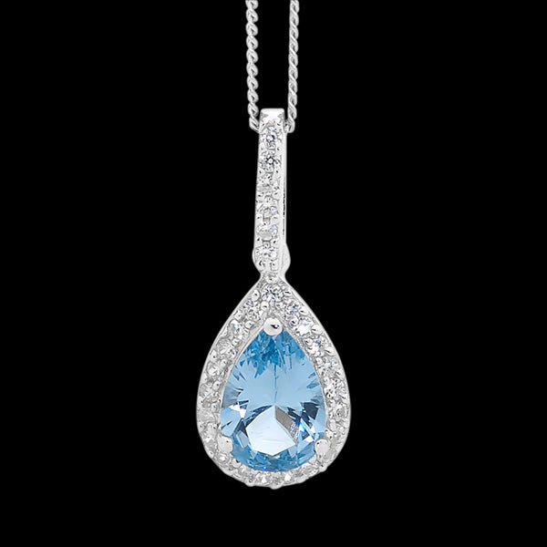 ELLANI STERLING SILVER PEAR SKY BLUE CZ PAVE NECKLACE