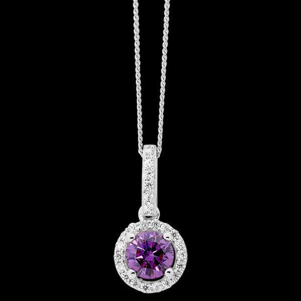 ELLANI STERLING SILVER HALO PAVE AMETHYST NECKLACE