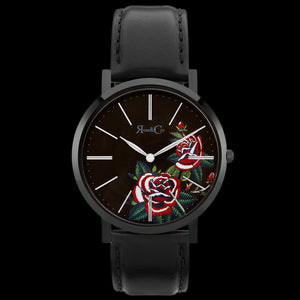 ROSE & COY MIDNIGHT RED ROSE 40MM BLACK LEATHER WATCH