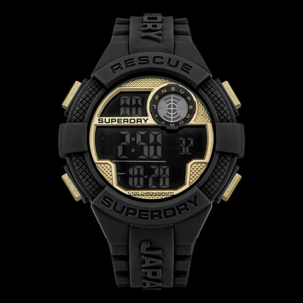 SUPERDRY RADAR RESCUE BLACK & GOLD SILICONE WATCH