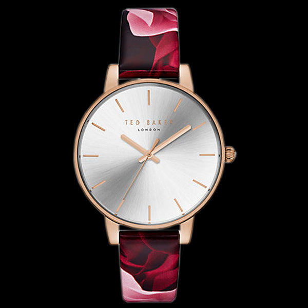 TED BAKER KATE ROSE GOLD FLORAL ROSE LEATHER WATCH