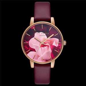 TED BAKER KATE ROSE GOLD BURGANDY FLORAL ROSE DIAL LEATHER WATCH