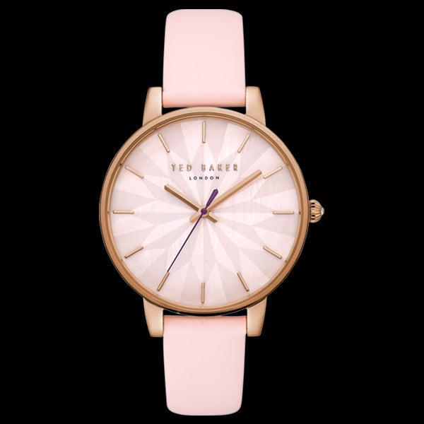 TED BAKER KATE ROSE GOLD SUNDIAL PINK LEATHER WATCH