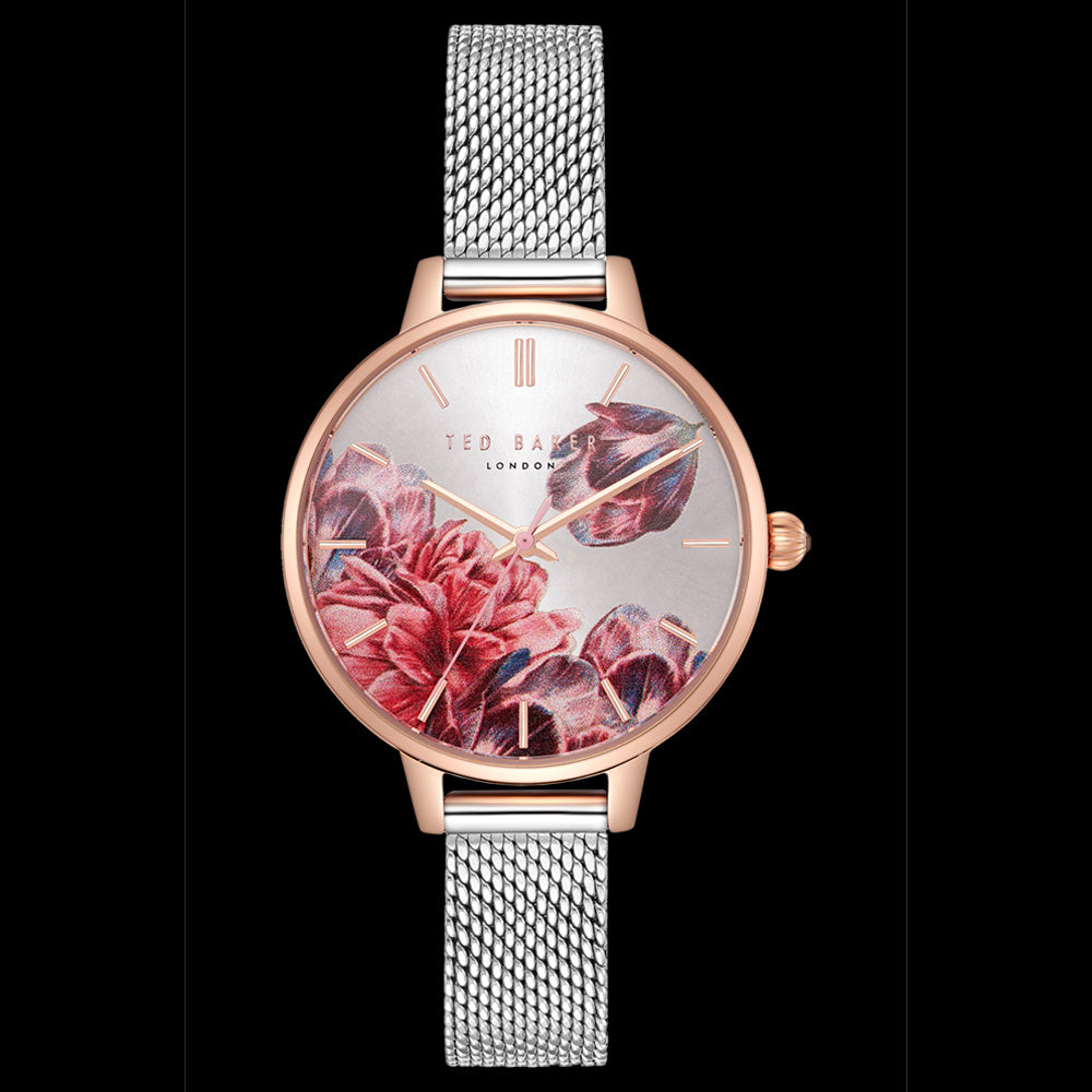 TED BAKER KATE TWO-TONE MESH FLORAL DIAL WATCH