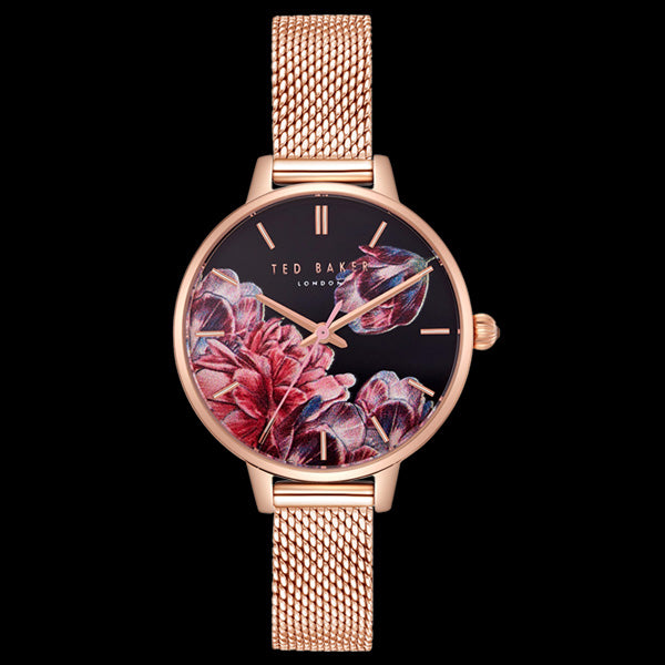 30907b4ffa52 TED BAKER KATE ROSE GOLD MESH FLORAL WATCH – Silver Steel