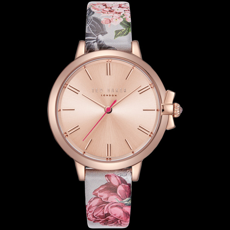 TED BAKER RUTH ROSE GOLD FLORAL LEATHER WATCH