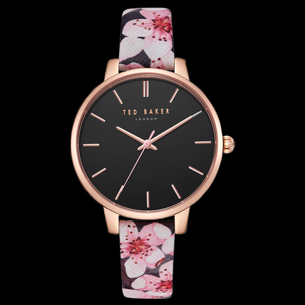 TED BAKER KATE ROSE GOLD BLACK DIAL ORIENTAL BLOSSOM FLORAL LEATHER WATCH