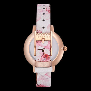 TED BAKER KATE ROSE GOLD ORIENTAL BLOSSOM FLORAL LEATHER WATCH - BACK VIEW