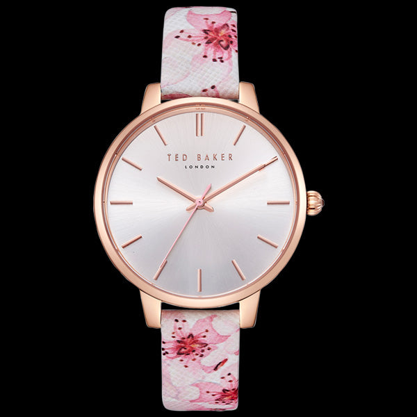 TED BAKER KATE ROSE GOLD ORIENTAL BLOSSOM FLORAL LEATHER WATCH