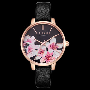TED BAKER KATE ROSE GOLD BLACK DIAL ORIENTAL BLOSOM FLORAL WATCH