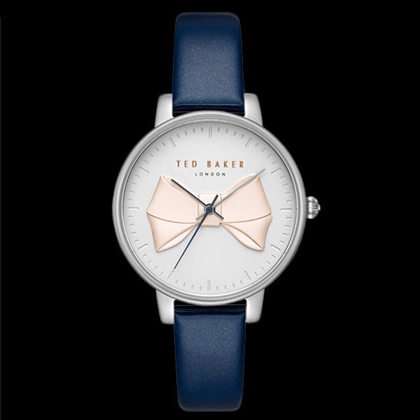TED BAKER BROOK WHITE BOW DETAIL DIAL BLUE LEATHER WATCH