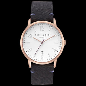 TED BAKER DANIEL WHITE DIAL GOLD BLACK & PURPLE LEATHER WATCH