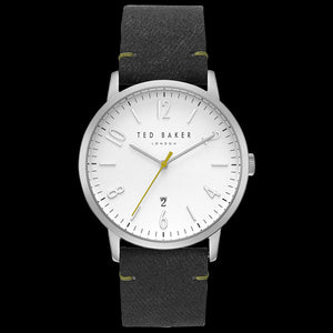 TED BAKER DANIEL WHITE DIAL BLACK & GREEN LEATHER WATCH
