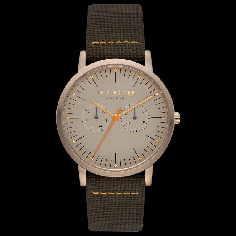 TED BAKER BRIT MATTE GOLD KHAKI GREEN WATCH