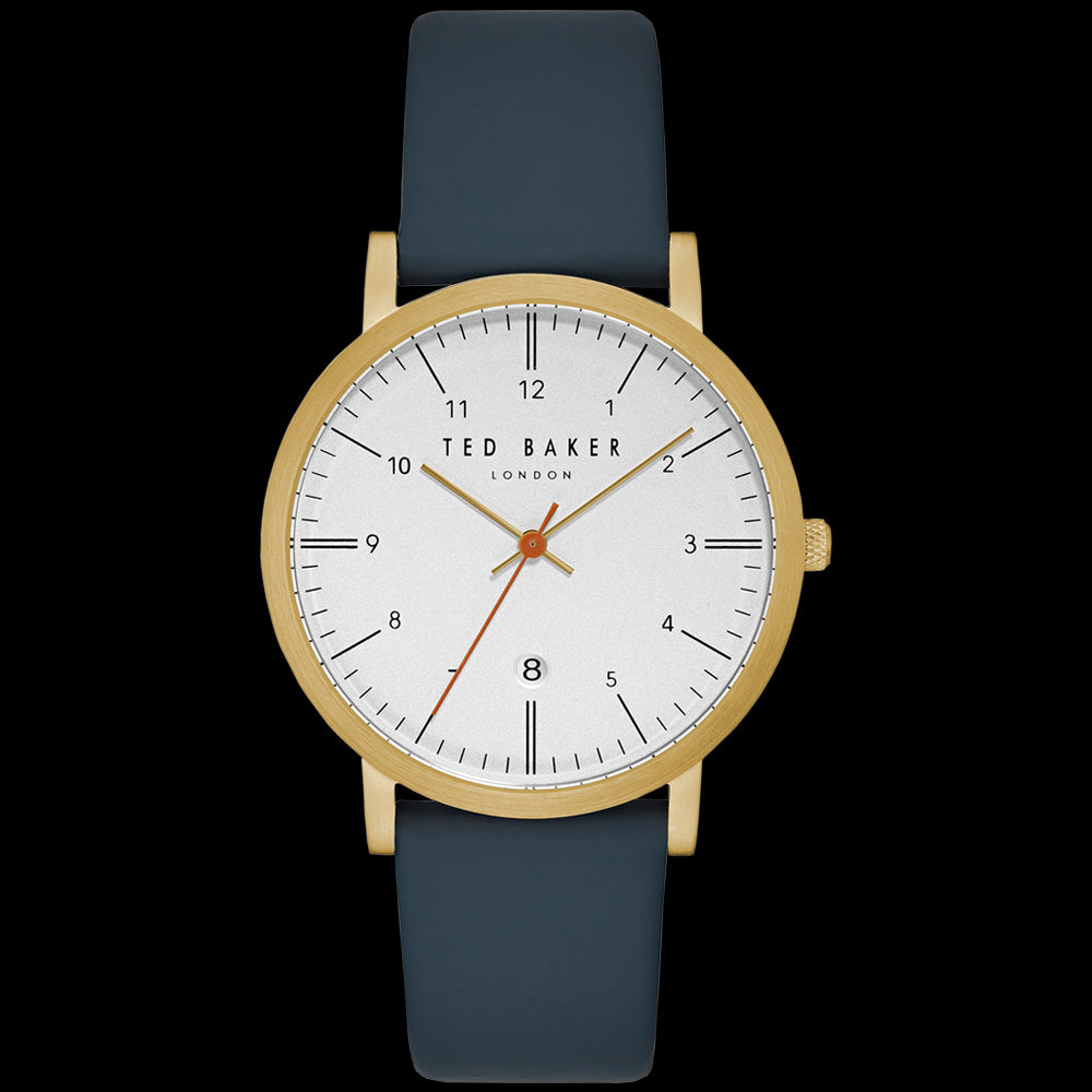 TED BAKER SAMUEL WHITE DIAL GOLD BLUE LEATHER WATCH