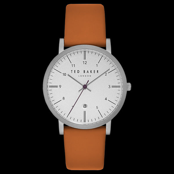 TED BAKER SAMUEL WHITE DIAL TAN LEATHER WATCH