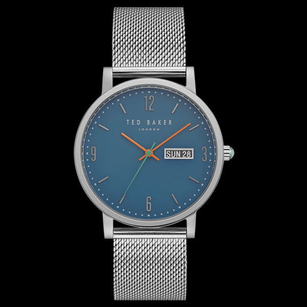TED BAKER GRANT BLUE DIAL SILVER MESH WATCH