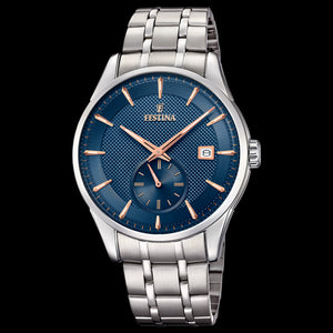FESTINA MEN'S RETRO DEEP BLUE DIAL 3-HANDS DATE WATCH