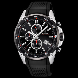 FESTINA MEN'S ORIGINALS RED BLACK DIAL CHRONOGRAPH DATE SILICONE WATCH