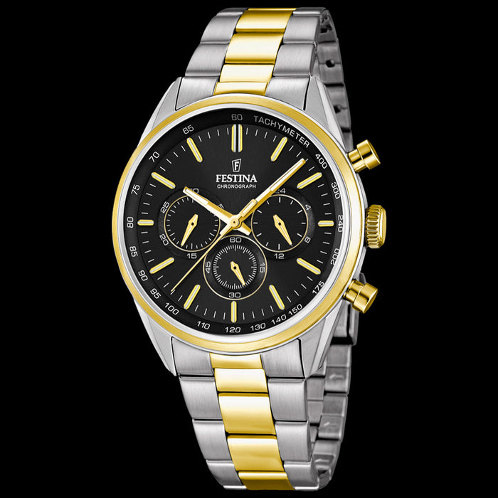 FESTINA MEN'S CHRONOGRAPH CLASSIC BLACK DIAL TWO-TONE GOLD WATCH