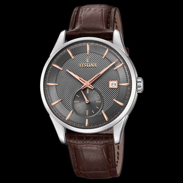 FESTINA MEN'S RETRO BROWN DIAL 3-HANDS DATE LEATHER WATCH