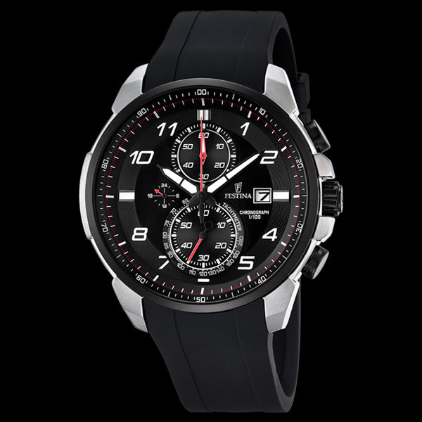 FESTINA MEN'S RED BLACK DIAL CHRONOGRAPH DATE SILICONE WATCH