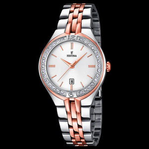 FESTINA LADIES MADEMOISELLE TWO-TONE ROSE GOLD CRYSTAL BEZEL DATE WATCH