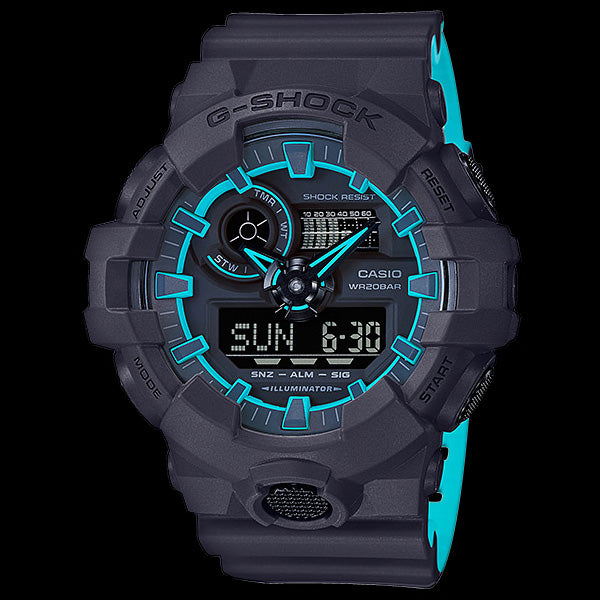 CASIO G-SHOCK BLUE LAYERED NEON WATCH GA700SE-1A